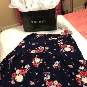 Torrid navy blue summer maxi skirt